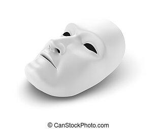 masque, blanc, concept, théâtre