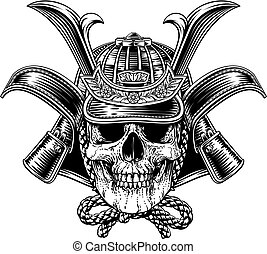 masque, casque, samouraï, guerrier, crâne