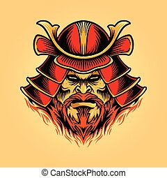 masque, casque, samouraï, guerrier, illustrations, shogun