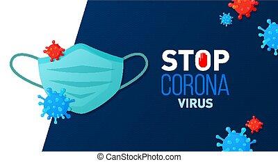 masque, coronavirus, banner., figure, arrêt, covid-19