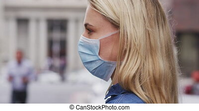 masque, coronavirus, côté, femme, covid19, vue, caucasien, ...