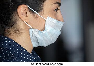 masque, coronavirus, grand plan, figure, protecteur, contre, femme