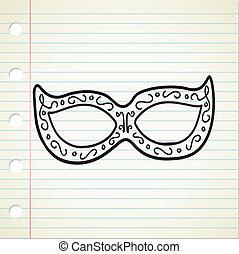 masque, dans, griffonnage, style