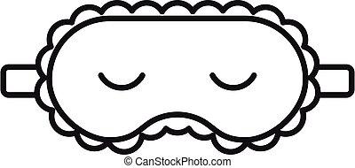 masque endormi, icône, contour, style