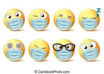 masque, faces, vecteur, emojis, figure, set., emoticon, covid-19, emoji