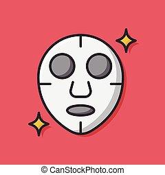 masque, facial, icône