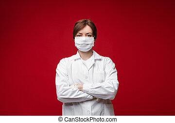 masque, femme, isolé, uniforme, professionnel, protecteur, blanc, docteur, poser, portrait