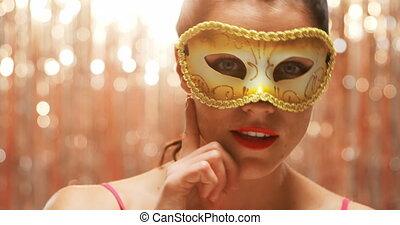 masque, femme, porter, carnaval, jeune