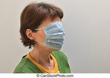 masque, figure, femme, chirurgical, couverture, elle, monde...