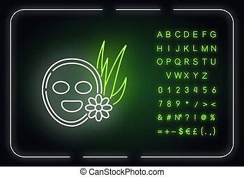 masque, figure, vegan, néon, icône, lumière