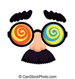 masque, fools, moustache, jour, lunettes