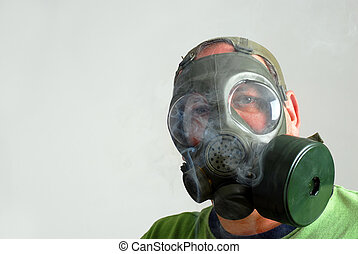 masque gaz, fumée, homme