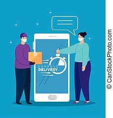masque, gens, app, exprès, smartphone, figure, utilisation, livraison