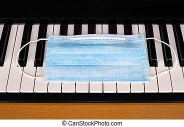 masque, grippe, piano