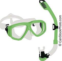 masque, illustration, vecteur, vert, isolé, plongée