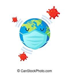 masque, la terre, coronavirus, poster., figure, covid-19