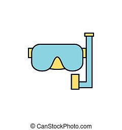 masque, ligne, snorkel, icône, été, plongée