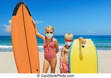 masque, lunettes soleil, protecteur, mer, surfers, porter, ...