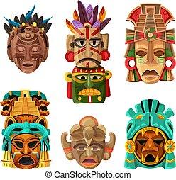 masque, maya, dessin animé, ensemble