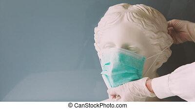 masque, mettre, monde médical, vénus, mains, tête, gypse