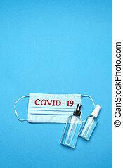 masque, monde médical, alcool, signe, jetable, main, fond, figure, sanitizer, antiseptique, covid-19, bleu