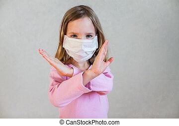 masque, monde médical, girl, peu, mignon
