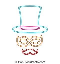 masque, néon, décoration, nuit, chapeau partie, moustache