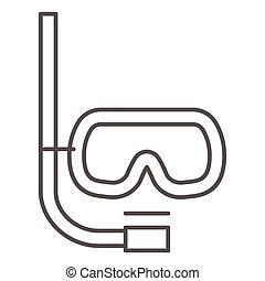 masque, natation, mobile, snorkel, icône, signe, concept, style, lunettes protectrices, contour, sport, icône, plongée, ligne, blanc, graphics., tube, mince, sous-marin, fond, vecteur, web.