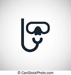 masque, plongée, icône
