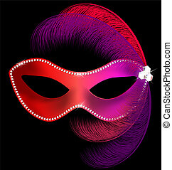 masque, plumes, rouges, carnaval