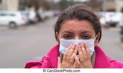 masque portant, protection virus, femme