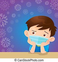masque, porter, chirurgical, garçon, enfants, empêcher, virus