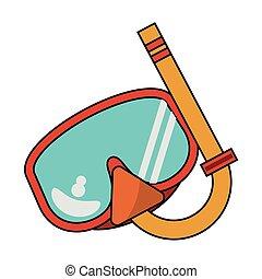 masque pour plongée sousmarine, dessin animé, été