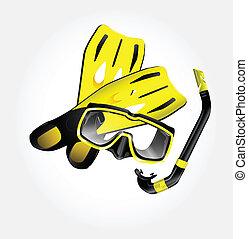masque, snorkel, nageoires, scaphandre