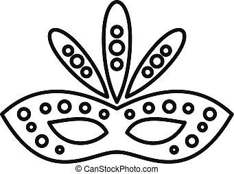 masque, style, icône, carnaval, contour