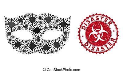 masque, timbre, désastre, mosaïque, coronavirus, textured, intimité, icône