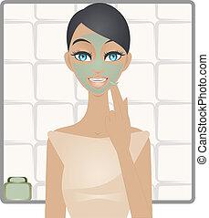 masque, vert, beauté, argile