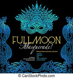Masquerade ball party invitation poster with retro style venetian mask on dark background vector illustration