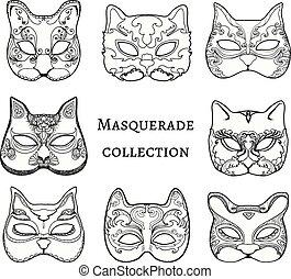 Masquerade. Set of hand drawn masks of cat.