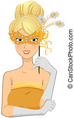 Masquerade Girl - Girl in Masquerade Costume with Clipping...