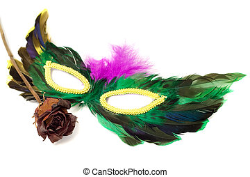 Masquerade Mask - A feathered masquerade mask with a dried...