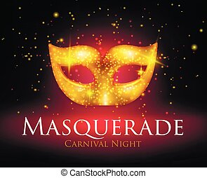 Masquerade Mask Background - Beautiful sparkling golden...
