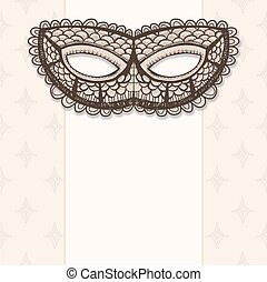 Masquerade mask on a beige background. Hand drawn graphic