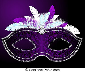 Masquerade Mask - Shiny Masquerade Mask with feather in...