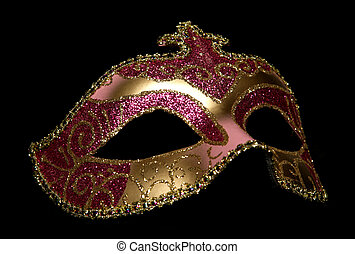 masquerade mask studio cutout on black background
