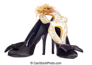 masquerade mask with high heel shoes