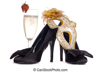 Masquerade mask with high heels and champagne cutout