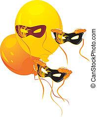 Masquerade masks and balloons