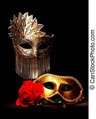Masquerade masks painted with light
