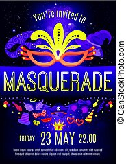 Masquerade Night Celebration Invitation Poster - Masquerade...